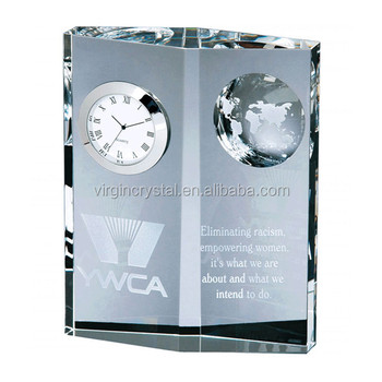 Wholesale customized personalized blank clear crystal glass clock for grandfather gift