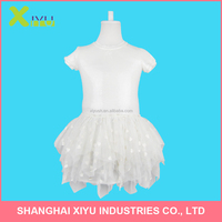 Shiny sequins top heart coating bottom short sleeve Fashion Children Girls Party Dress