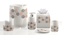 High Quality Ceramic or Polyresin Modern Colorful Circle Pattern Accessories for Bath Set