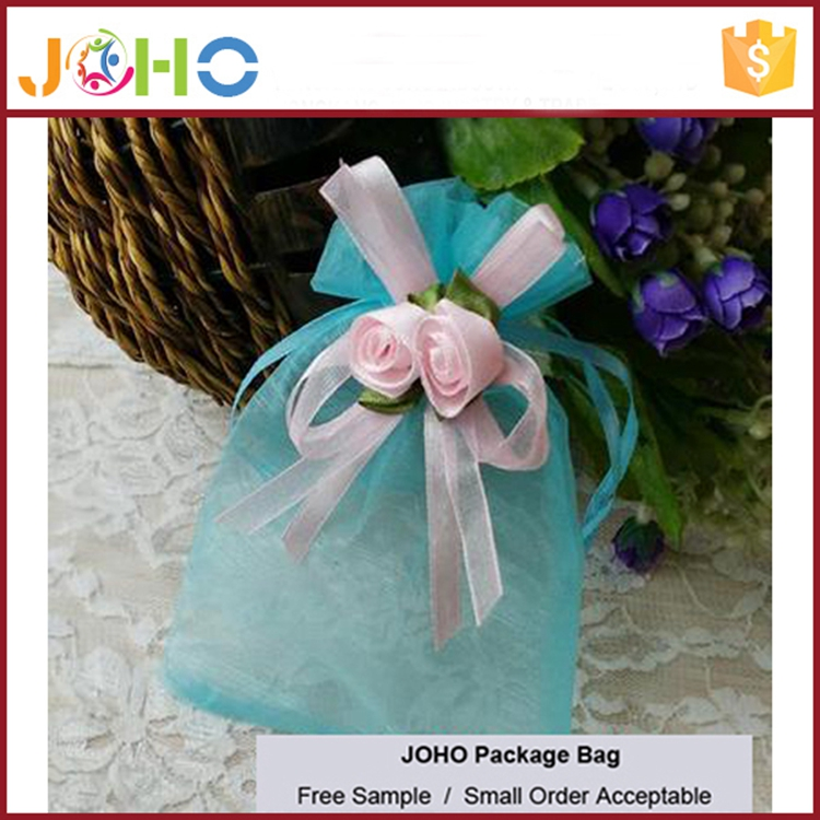 Wholesale High Quality Fashion Custom Logo Cheap Organza Drawstring pink bags with decorative flower for sale
