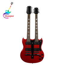 Danpur red color 6 12 strings double neck bass guitar sg