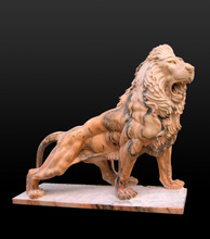 Customized Size Hand Carved marble animal lion statues