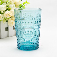 Handmade decorative crown pattern embossed art glass tumbler 8oz blue glass pressed drinking tumbler