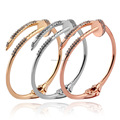 Women's Gold Color Stainless Steel Nail Love Bangle Bracelet with CZ Inlaid