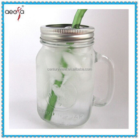480ml Libbey Country Fair glass mason jars with lid and straw glass jars with handle drink dispenser glass