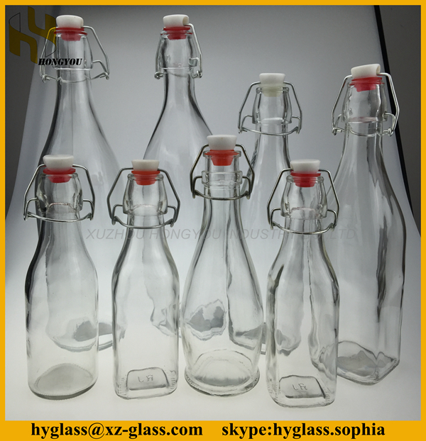 all size factory price airtight glass milk bottle with swing top wholesale