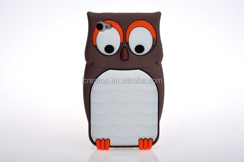 3D cartoon night owl silicone cell phone case