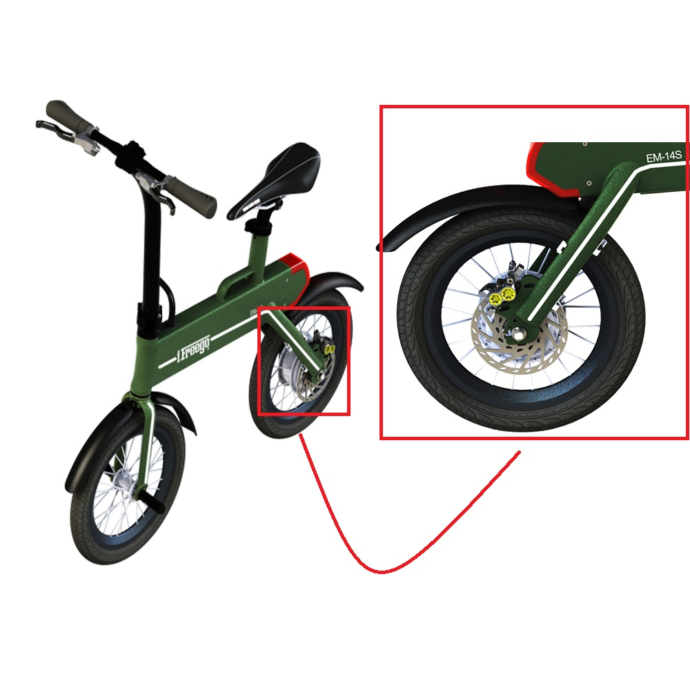Freego EM-14S 14 inch New Arriver big two wheels wheelbase Baogl mini folding electric bike