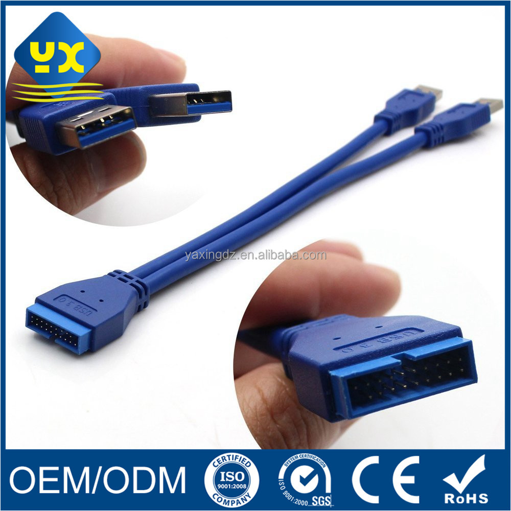 Factory Wholesale 2 Port USB 3.0 A male to 20 Pin Header Cable Internal Motherboard Connection