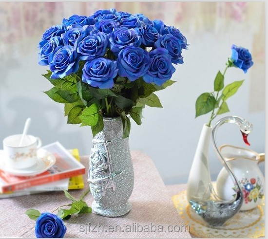 2014 SJ AF090 Customized artificial flower rose in artificial flower wedding party decoration blue fake plastic silk rose flower