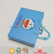 Corrugated Flute cardboard white drawer inner packaging box tray satin handle paper carrying box