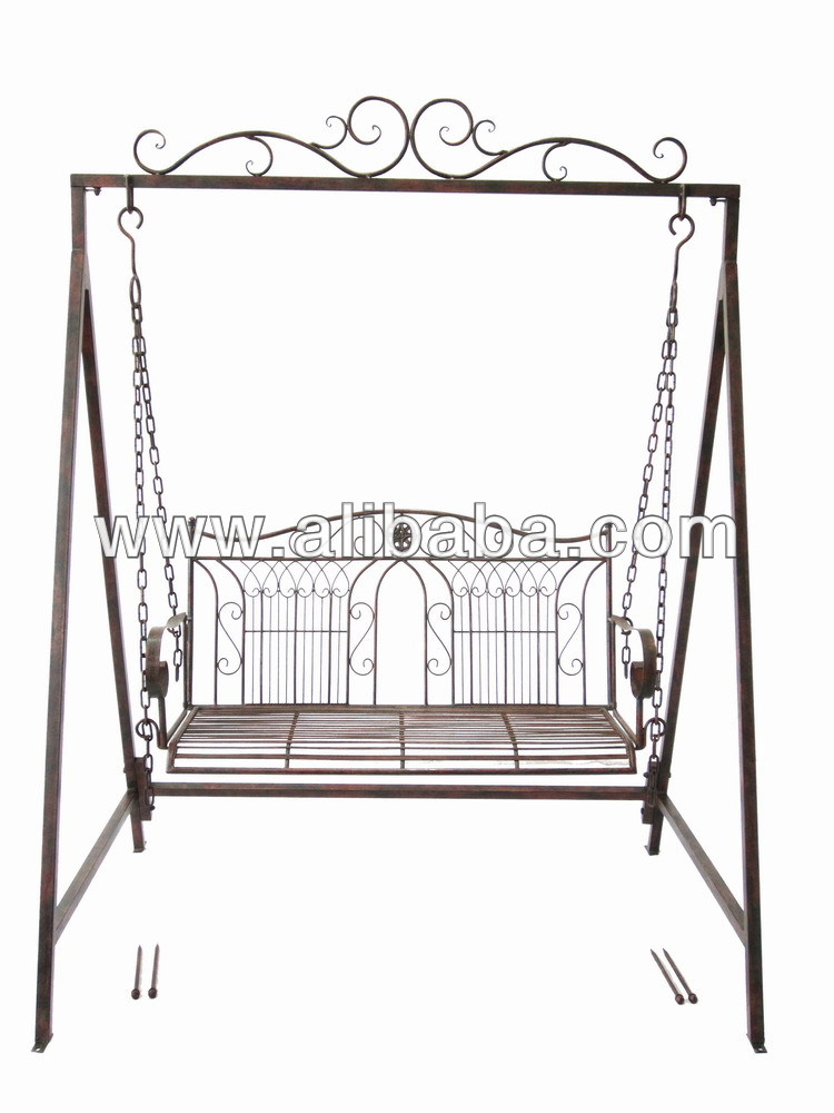 2-seat antique outdoor wrought iron swing