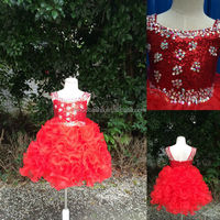 Real Photos 2014 Hot Sale Red Sequin Ball Gown Girls' Dresses Square Neck Crystal Ruffled Organza Pageant Gown NB0501