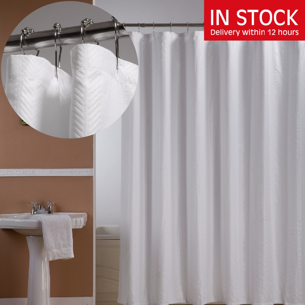 IN STOCK Amazon Waterproof White Solid Polyester Fabric Bath Home Goods Shower Curtain 72 x72 inch Wholesale