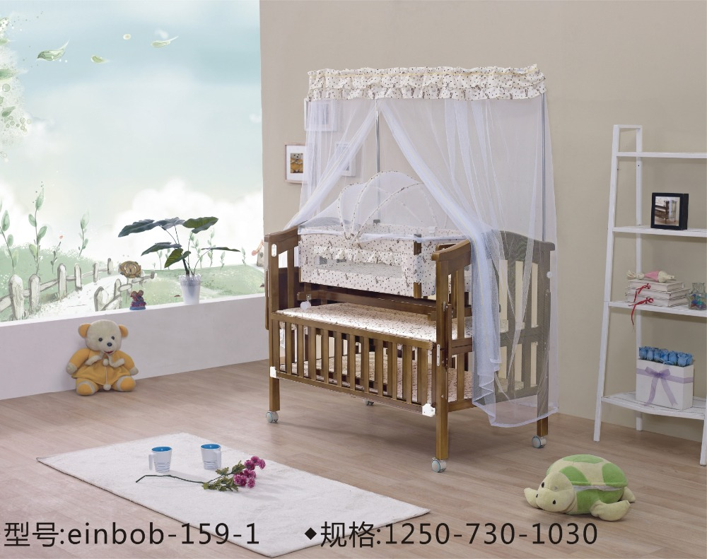 baby crib solid wood double bed cot convertible pine wood adjustable baby crib adjustable bebrail 159