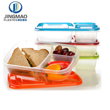 bpa free reusable food grade plastic airtight storage container with lock lid 3 Compartment Plastic Food Storage Container