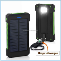 Waterproof IP68 Solar Cellphone charger 8000mah Portable Solar Power Bank with Dual USB