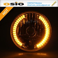 7 inch Round high / low light with LED halo ring H4 Halogen Sealed Beam / Semi sealed beam