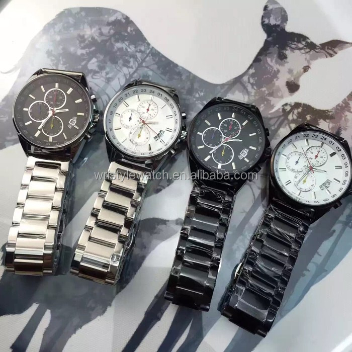 metal watchcase stainless steel strap chinese quartz movement chronograph watches men