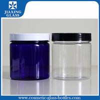 Clear PET plastic cream jars bottle with screw cap