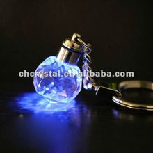 blue color led light crystal ball keychain , crystal ball led light keyring