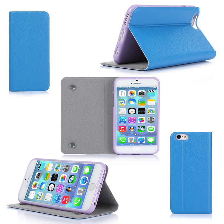Design Ultra Thin Flip Leather Cover Case Smart PU Mobile Phone Case For iPhone 6 4.7 inch