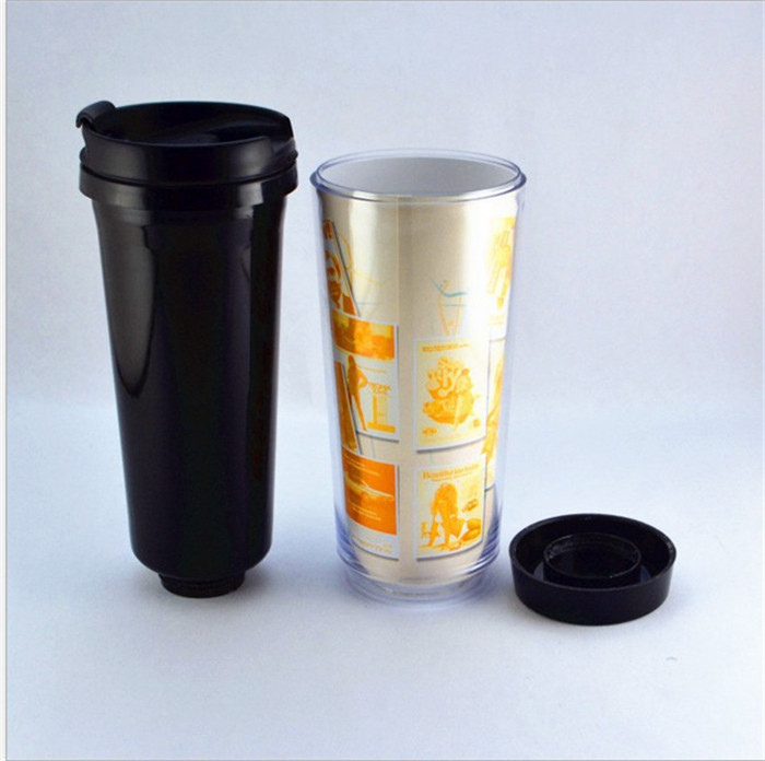 500ml Double Wall Plastic Black Coffee Mug