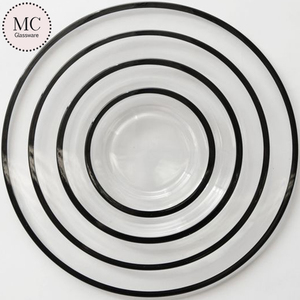 Latest black rim glass dinner set with popular design