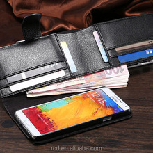 Luxury Big Black Wallet PU Leather Money Clip Case Cover for Samsung Galaxy Note 3 N9000 Smartphone RCD03786
