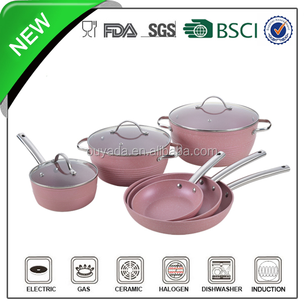9pcs New style Wholesale Pink enamel cookware set