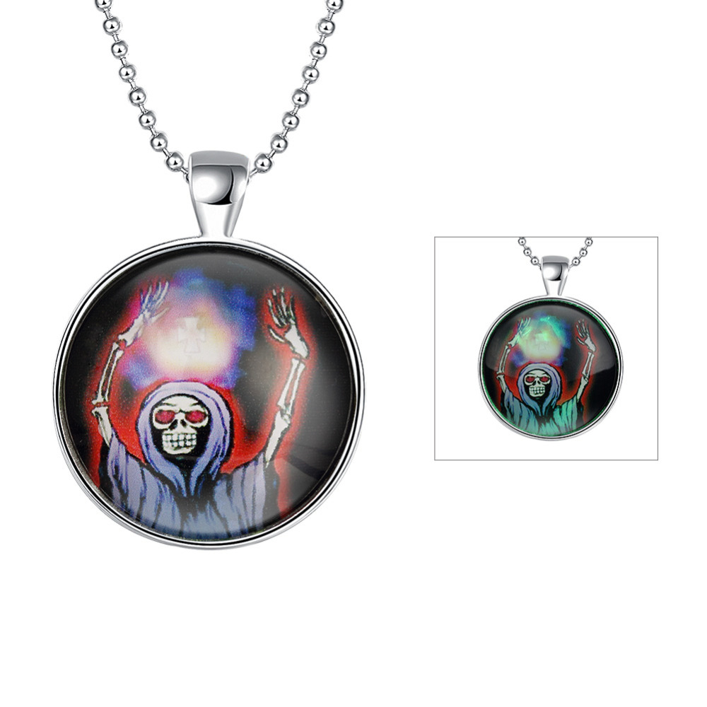 Halloween jewelry ball chain luminous pendant evil witch necklace