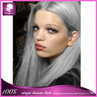 Hot sale grey human hair wigs 7A+ silver grey lace front wig brazilian full lace wigs middle parting Sunny Grace