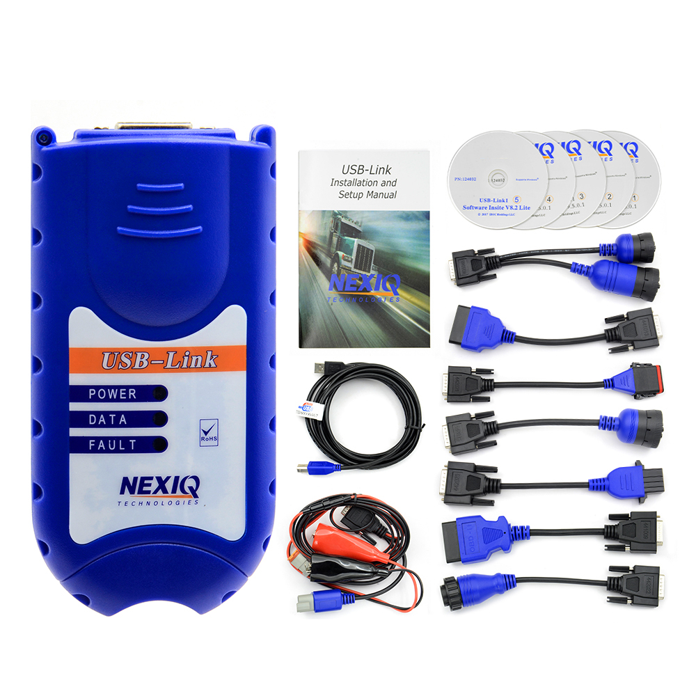 NEXIQ 125032 USB Link + Software Diesel Truck Diagnose Auto Heavy Duty Truck Scanner Tool with All Installers Nexiq 4CD no box