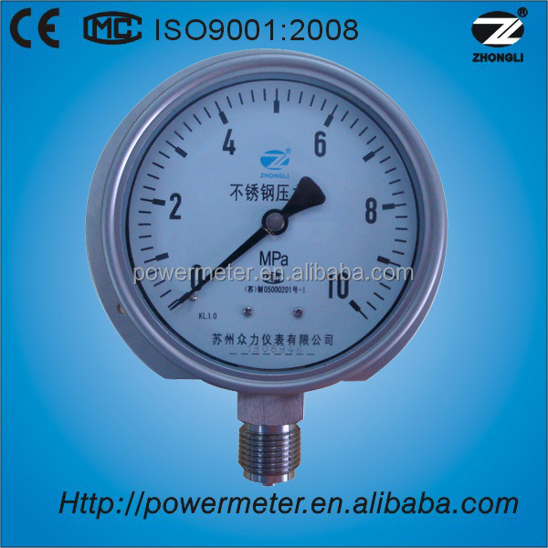 YBF-100 4 inch stainless steel case with back flange pressure gauge manometer with CE 10 MPa