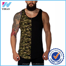 Yihao 2017 Customized trade pannel Vest y back Singlets Tank tops High quality Gym tops mens vest