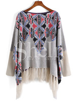 Sweaters latest fashion design women clothing Grey Long Sleeve Vintage Print Tassel Sweater