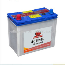 rechargeable JIS standard maintenance free 12v 45ah global car battery export from China