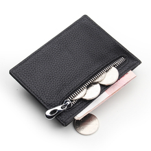 Thin card holder blacke leather small wallet credit card holder
