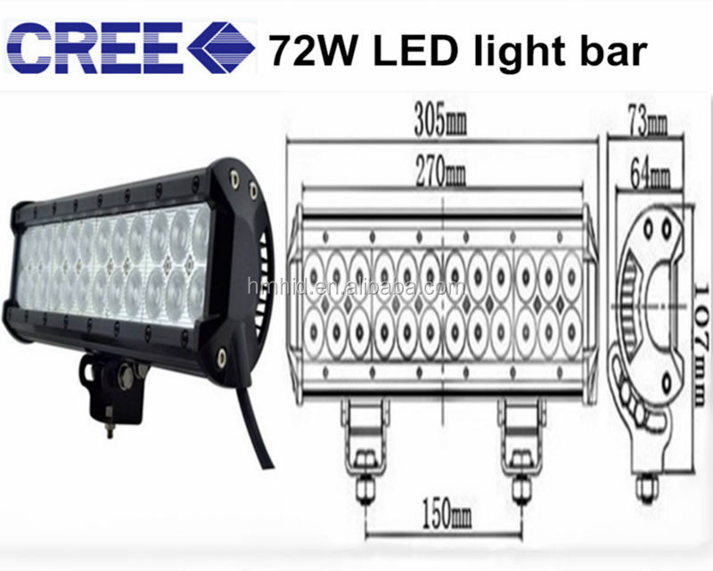 12 Inch 72W CREE led light bars pot/Flood Combo Beam Adjustable RZR Offroad Jeep Rhino Sandrail Canam Buggy Utv