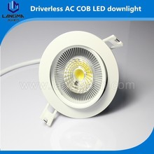 Dimmable 10w cut out 90mm COB downlight with 2 years warranty driverless led downlight