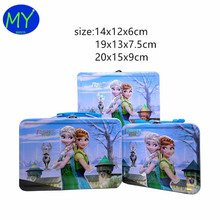 Customized professional cartoon printing lunch tin box with plastics handle china supplier