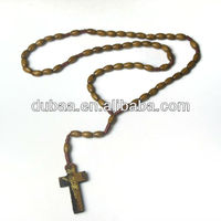 Wood Cross Pendant Necklace Christian Jewelry Wood Rosary Religious Necklace Wood Beads Jewelry