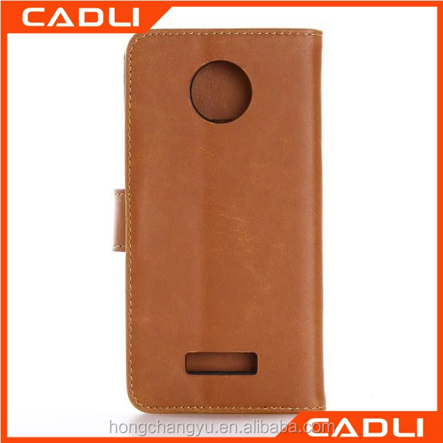 China Manufacture Supplier Mobile Cell Phone case for moto Z force leather with two card slot