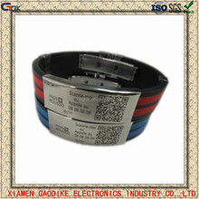 Customized QR Code silicone bracelet with stainless steel clasp