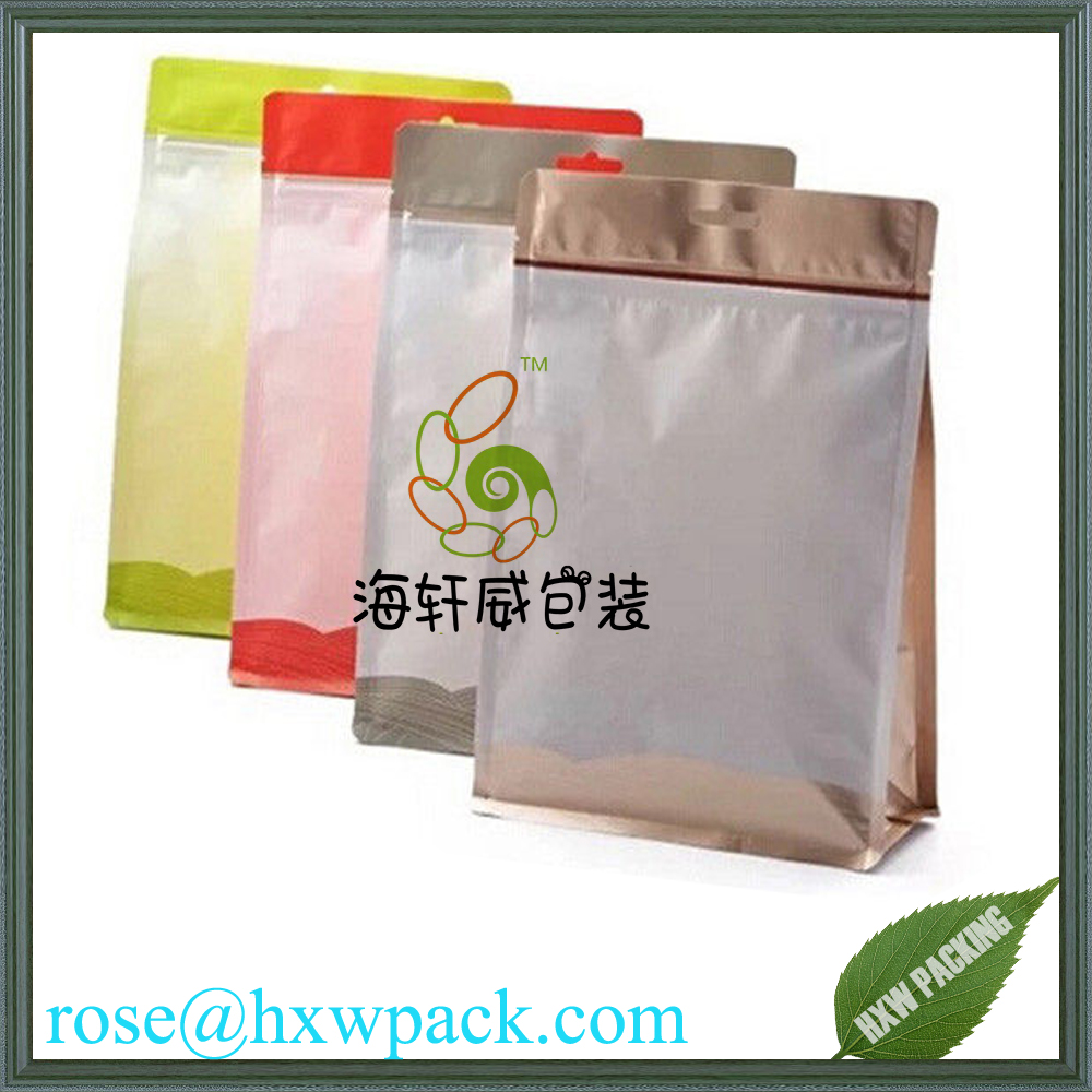 Eco friendly resealable plastic custom printed flat bottom ziplock bag cookie packaging food bag