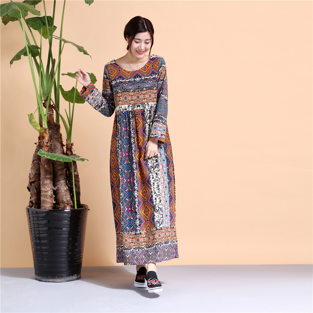 2017 New Cotton&Linen Printed Long Sleeve Korean Style Long Dress