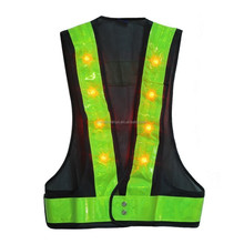 ansi class 2 flashing blakd led reflective safety vest with velcro