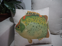 Home decor large pillow cover/case Decorative fish printed painting cushion envelope