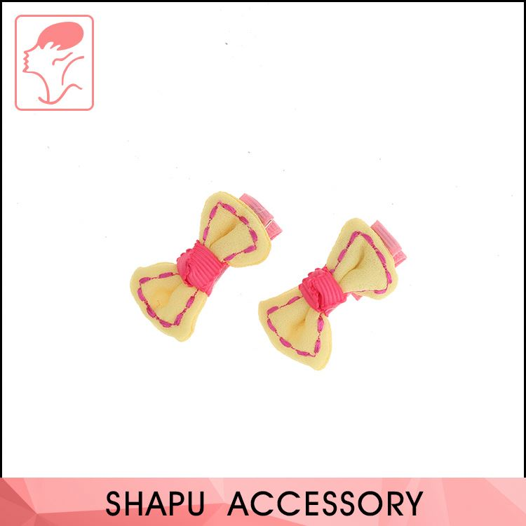 New coming logo printed kids hair accessory kids satin ribbon bow hair clips