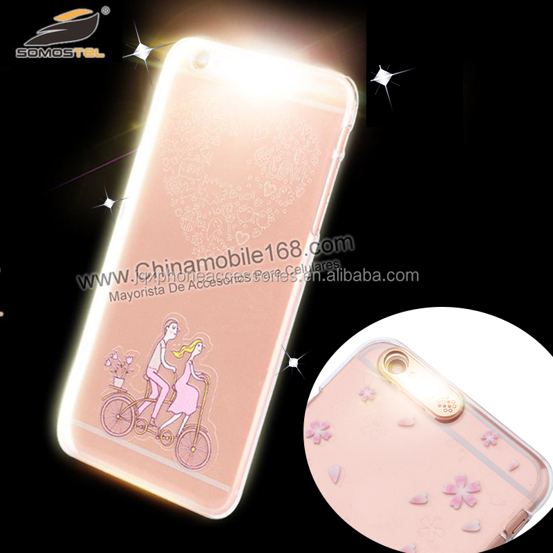 Led flash light up phone case for apple iphone 5c 6 for samsung galaxy s4 s5 j6 j7 with selfie